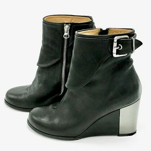 Shoes - Goffrodo Fantini Leather Wedge Ankle Boots